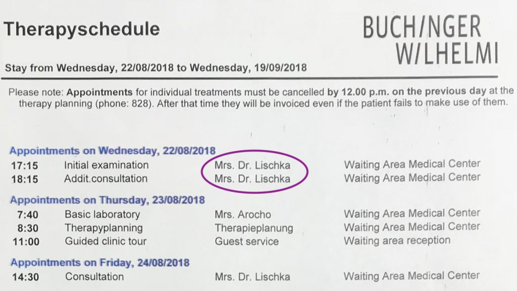 Therapy Schedule for Buchinger Wilhelmi