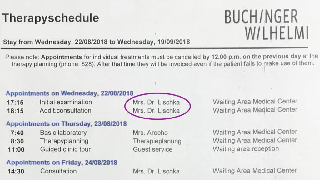 Therapy Schedule for Buchinger Wilhelmi