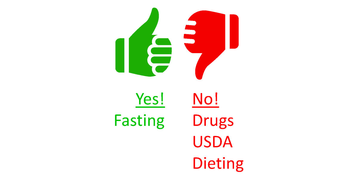 Yes to fasting.  No to drugs, USDA, and dieting.