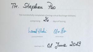 Buchinger Fasting Certificate