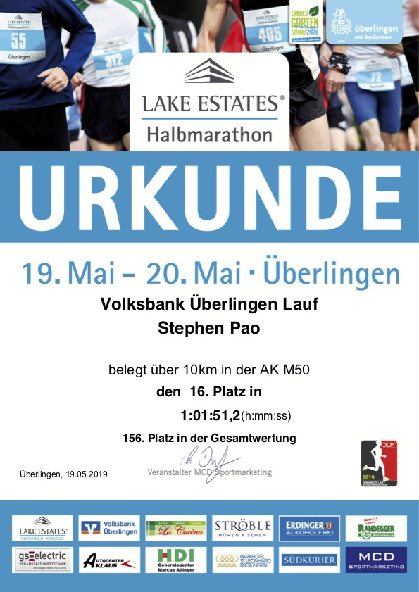 Finisher Certificate - Volksbank Überlingen Lauf
